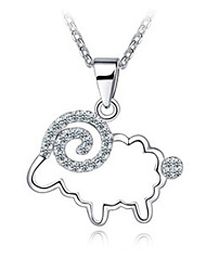 S925 Silver Pendant Necklace Silver Zodiac Sheep Mascot Animal Year Birthday Gift Jewelry A50