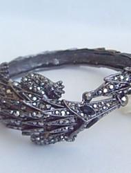 Unique Pangolin Bracelet Bangle With Black Rhinestone Crystal