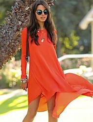 Women's Round Dresses , Chiffon Sexy/Casual Long Sleeve YaYiGe