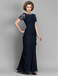 Lanting Bride® Sheath / Column Mother of the Bride Dress Ankle-length Short Sleeve Chiffon with Beading / Ruching