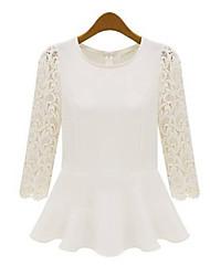 Women's Lace White/Yellow Blouse Long Sleeve