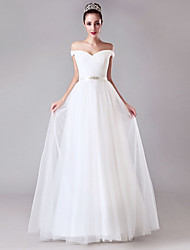 A-line Wedding Dress - Chic & Modern Floor-length Off-the-shoulder Tulle with Criss-Cross / Sash / Ribbon