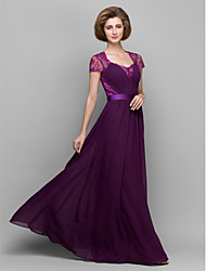Lanting Bride® A-line / Sheath / Column Mother of the Bride Dress Floor-length Short Sleeve Chiffon / Lace with Lace