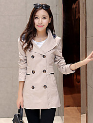 Women's Shirt Collar Pocket Coats & Jackets , Cotton Casual Long Sleeve B.L.S