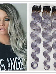 3Pcs/Lot #1B/Grey Hair Extensions Brazilian Ombre Virgin Silver Grey Hair Weft Weave Boby Wave