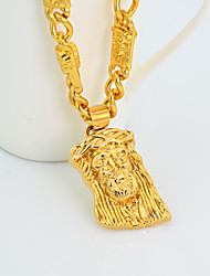 Westernrain  New Product 18K Yellow Gold Plated Men Necklace Pendants Figure Long Chain Men Jewelry