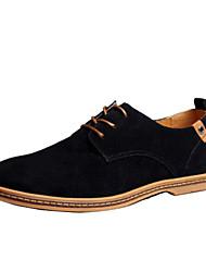 COLOR Men's Shoes Black/Blue/Brown/Green/Grey/Khaki Oxfords (Leather)