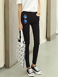 cintura queda elásticas calças skinny de mulheres