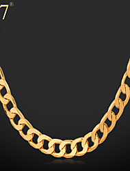 U7® Men's Simple Gold Chain 18K Gold Plated Men Jewelry Copper Classic Chain Necklace