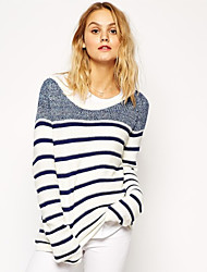 Women's Bateau Sweaters , Cotton Blend Casual/Work Long Sleeve Phylomeya