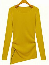 Mulheres Blusa Decote Redondo Manga Longa Renda Algodão Mulheres