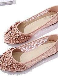 Women's Shoes Tulle Flat Heel Comfort/Closed Toe Flats Casual Pink/White