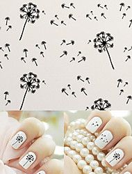 Water Transfer Printing Black Dandelion Nail Stickers