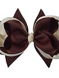 4.5Inch Coffee Cream Double Layers Boutique Hair Bows Hairclips Stacked Hairbows Clips Party Favors Headwear HG094