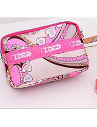 Women 's Nylon Clutch/Cosmetic Bag - Pink/Brown/Black