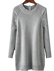 Women's  Crew Neck Full Sleeve Back Zipper Medium-Long Pullover Solid Loose Sweater Dress