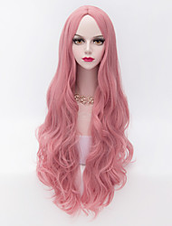 80cm Long Loose Wavy U Part Hair Pink Heat-resistant Synthetic Fashion Party Wig
