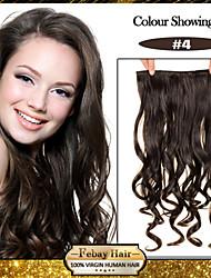 5 clips ondulado marrón medio (# 4) pinza de pelo sintético en extensiones de cabello para damas más colores disponibles