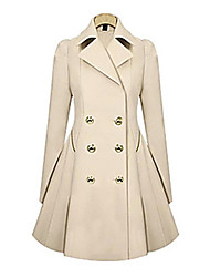 Women's Solid Spliced Button Design Notch Lapel Sheath Trench Coat