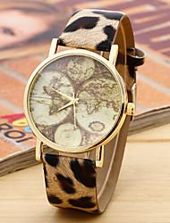 unisex kaart horloge vintage lederen horloge, liefhebbers vriend cadeau-idee