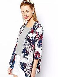 Women's Pan Collar Coats & Jackets , Chiffon Print/Work ¾ Sleeve Retro