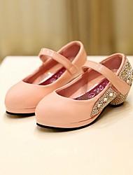 Girl's Summer Heels / Round Toe / Closed Toe Leatherette Casual Low Heel Beading / Rivet / Magic Tape Black / Pink