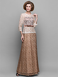 Sheath / Column Mother of the Bride Dress Ankle-length 3/4 Length Sleeve Lace with Lace