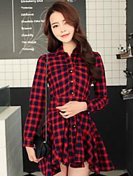 Women's Shirt Collar Back Bow Slim Irregular Hem Ruffle Dress