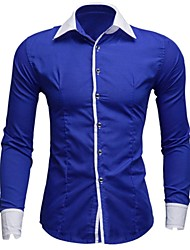 Men's Solid Casual / Work / Formal Shirt,Others Long Sleeve Black / Blue / Green / Purple / Red / White