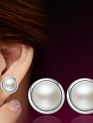 Cute Pearl Sterling Silver Stud Earrings