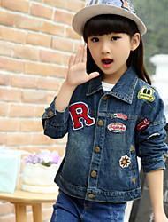 Girl's Alphanumeric Labeling Cartoon Casual Denim Jacket, Winter/Fall Long Sleeve