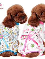 Cat / Dog Coat / Pants / Pajamas / Clothes/Clothing Blue / Pink / Yellow Winter Cartoon / Bowknot Wedding / Cosplay