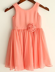 Coral Chiffon Knee Length Flower Girl Dress