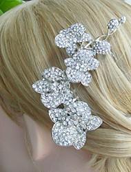 Wedding Headpiece 4.92 Inch Silver-tone Clear Rhinestone Crystal Flower Bridal Hair Comb Wedding Hair Accessories