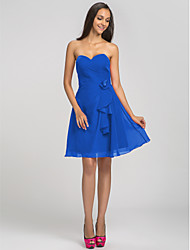Short/Mini Chiffon Bridesmaid Dress - Plus Size / Petite A-line Sweetheart