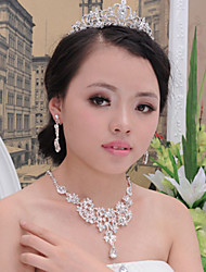 Bride's  Rhinestone Crystal Wedding Decorations Jewelry Set Including Necklace,Earrings