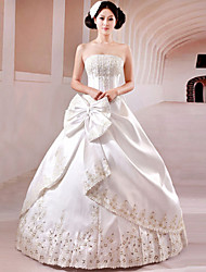 Ball Gown Wedding Dress Chapel Train Strapless Satin with