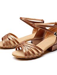 Non Customizable Women's/Kids' Dance Shoes Latin Flocking Chunky Heel Brown