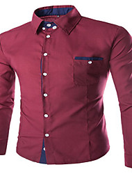 Men's Long Sleeve Shirt , Elastic Casual Pure