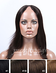 2015 Hotsale 14''-16'' Natural Straight Virgin Indian Human Hair Wigs U-Part Lace Wigs With Baby Hair For Black Women