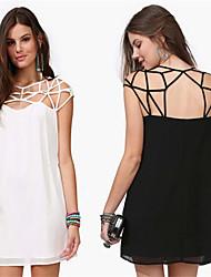 Women's Round Hollow Out Dresses , Chiffon Sexy/Casual Sleeveless YaYiGe