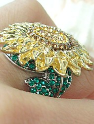 Gorgeous Green Topaz Rhinestone Crystal Sunflower Cocktail Ring Women Jewelry