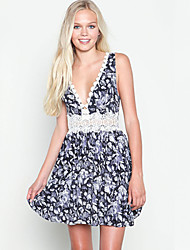 Women's Print/Patchwork/Lace Dress , Vintage/Sexy/Casual/Print/Lace/Work Deep V Sleeveless Lace