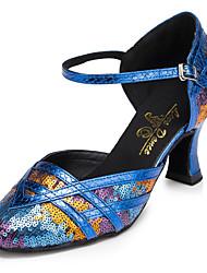 Non Customizable Women's Dance Shoes Salsa Flocking Flared Heel Blue