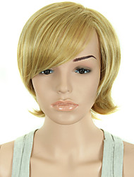 Women Short Synthetic Hair Wigs Pixie Cut wig Straight Hair Brown with Blonde Wig