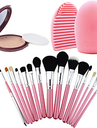 15Pcs Pro Cosmetic Make Up Brush Set Lipbrush Superior Soft+Salon Contour Face Pressed Powder Cake + Cleaning Tool Glove