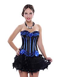 Basques Costume Fancy Party Mini Dress Lace up Boned Corset Bustier Mini Skirt S-2XL