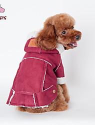 Mäntel / Kapuzenshirts für Hunde / Katzen Rot / Braun Winter Hochzeit / Cosplay S / M / L / XL / XXL Baumwolle / Polar-Fleece