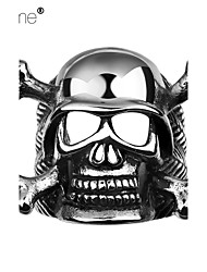 Lureme®Europestyle Retro Individuality Old Mayan Bone Skull Titanium Steel Rings