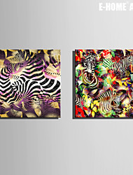 E-HOME® Stretched Canvas Art Abstract Zebra Decorative Painting Set of 2